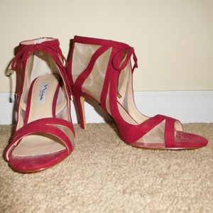 Nina red swede stilettos; size 8; never worn